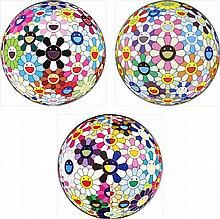 Takashi Murakami, Flowerball Blood (3-D) V/ Flowerball Cosmos (3D)/ Flowerball (3D) From the Realm of the Dead