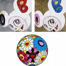Takashi Murakami, Flowerball (Algae Ball)/ DOB in Pure White Robe (Navy & Vermilion)/ DOB in the Pure White Robe (Pink & Blue)