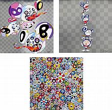 Takashi Murakami, This World and the World Beyond/ DOB totem pole/ Flowers with Smiley Faces