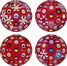 Takashi Murakami, Flowerball (3D) Papyrus/Flowerball (3D) Red Ball/Flowerball (3D) Letter to Picasso/Hey! You! Do You Feel What I Feel?