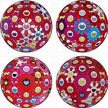 Takashi Murakami, Groping for the Truth/ Flowerball (3D) - Blue, Red/ Flowerball (3D) - Red, Pink, Blue/ Comprehending the 51st Dimension