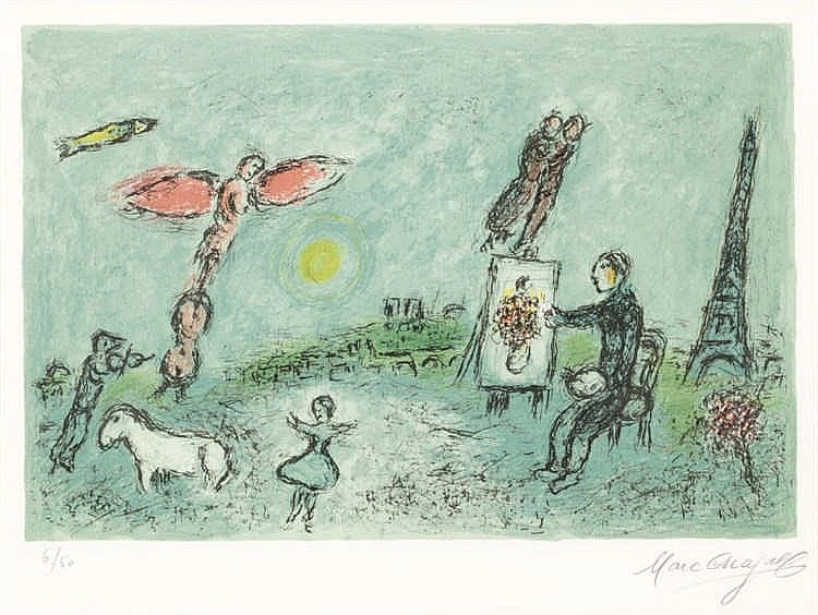 Marc Chagall, The Painter and His Double (2nd state) (Mourlot 992a)