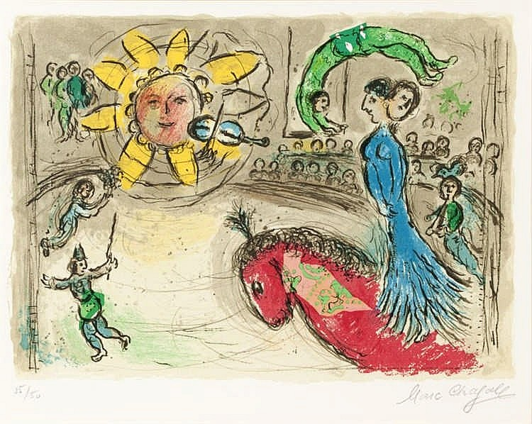Marc Chagall, Sun with Red Horse (Mourlot 945)