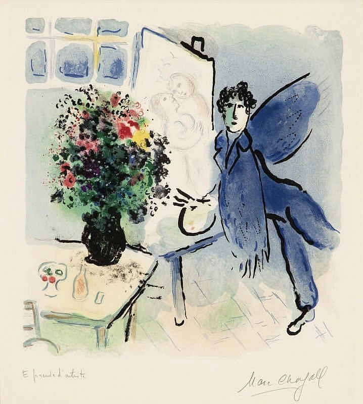 Marc Chagall, The Blue Studio (Mourlot 706)