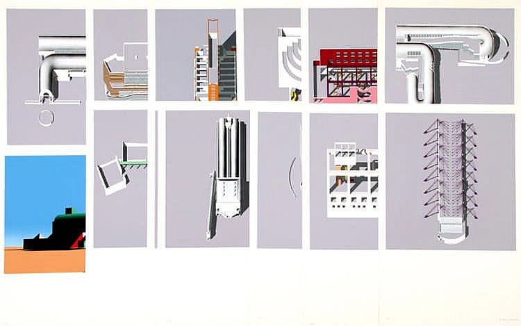 Arata Isozaki, thirteen screenprints by Isozaki