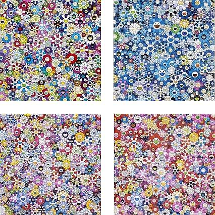 Takashi Murakami, Bouquet of Love/ Shangri-La Blue/ Shangri-La Pink/ Shangri-La Shangri-La Shangri-La