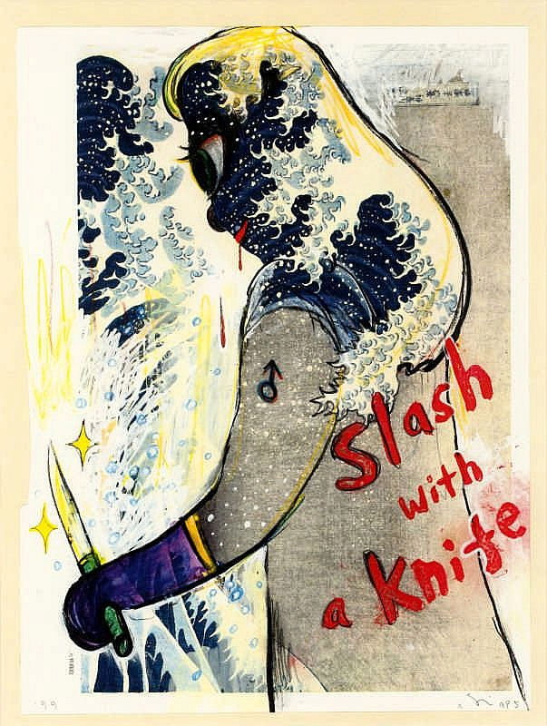 Yoshitomo Nara, Slash with a knife (In the Floating World) (Bijutsu Shuppan-sha E-1999-001)