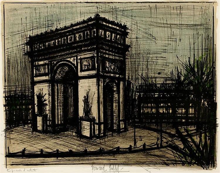 Bernard Buffet, L'Arc de Triomphe, from 'Album Paris' (Sorlier 40)