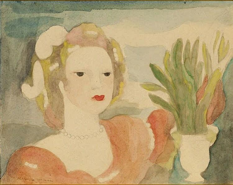 Marie Laurencin, Femme aux perles près d'une vasque