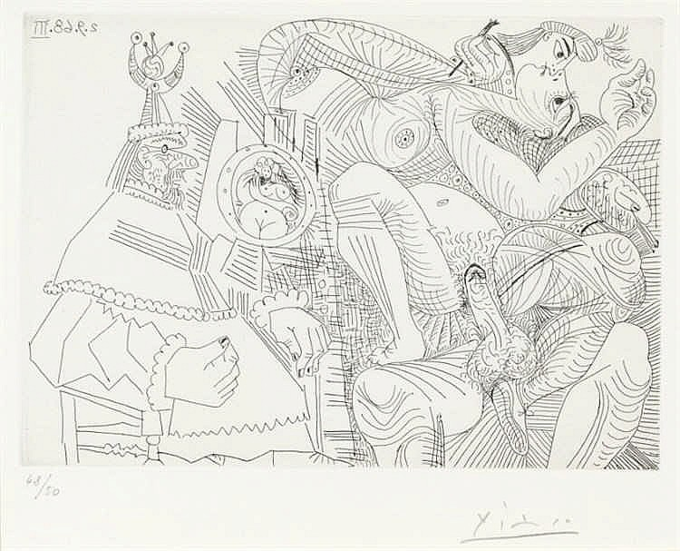 Pablo Picasso, Raphaël et la Fornarina. XII: Dans son fauteuil, le Pape se sent cocu, Pl.307 from 'Series 347' (Bloch 1787/ Baer 1804.B.b1)