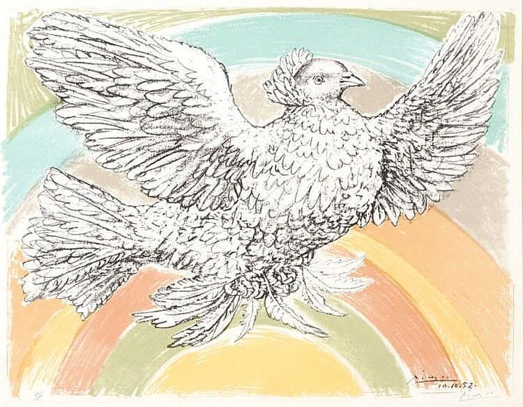 Pablo Picasso, Colombe volant (a l'Arc-en-ciel) (Bloch 712/ Mourlot 214)