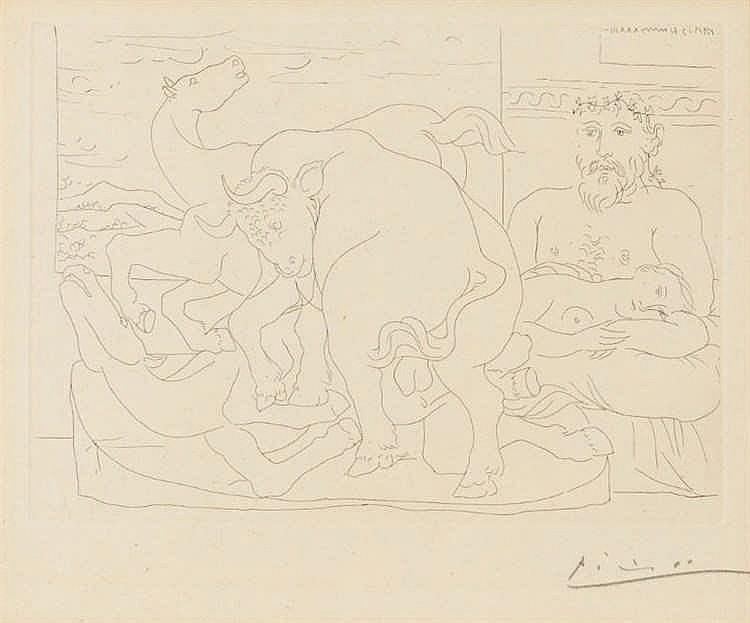 Pablo Picasso, Le repos du sculpteur devant des chevaux et un taureau, Pl.57 from 'La Suite Vollard' (Bloch 166/ Baer 319)