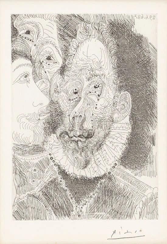 Pablo Picasso, Portrait- Charge d'un des parsonnages de L'enterrement du comté d'Orgaz, en Larmes, Pl.194 from 'Series 347' (Bloch 1674/ Baer 1690.B.b)
