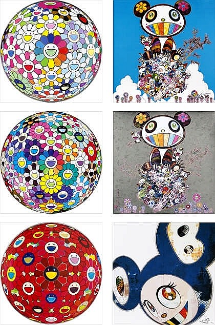 Takashi Murakami, Red Flower Ball (3-D)/ Thoughts on Matisse/ Flowerball: Want to Hold You/ And Then x6 Blue/ The Pandas Say They're Happy/ Panda & Panda Cubs