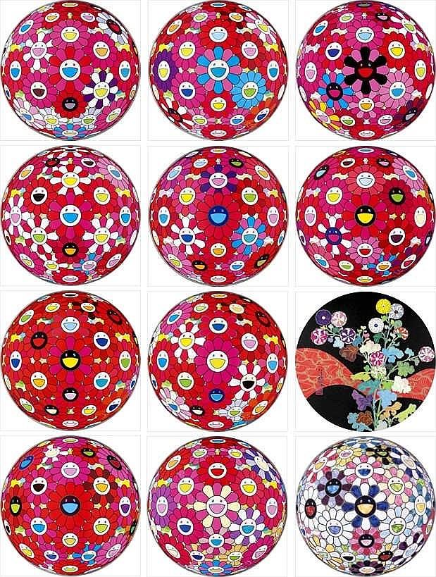Takashi Murakami, Flowerball (3D) - Turn Red!/ Flowerball (3D) - Papyrus/ Flowerball (3D) - Red Ball/ Flowerball (3D) - Red, Pink, Blue/ Flowerball (3D) - Blue, Red/ Hey! You! Do You Feel What I Feel?/ Comprehending the 51st Dimension/ Groping for