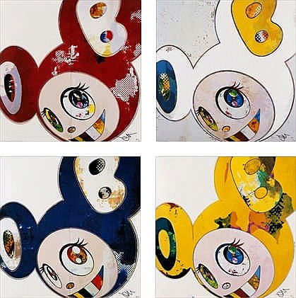 Takashi Murakami, And Then x6 Red/ And Then x6 Blue/ And Then x 6 (White: The Superflat Method, Blue and Yellow Ears)/ And Then, And Then And Then And Then And Then Yellow Universe