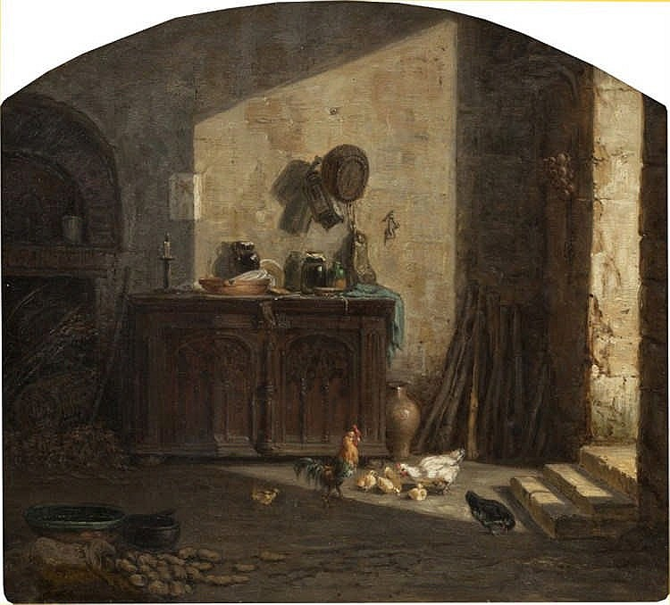 Charles-Emile Jacque, Kitchen Interior