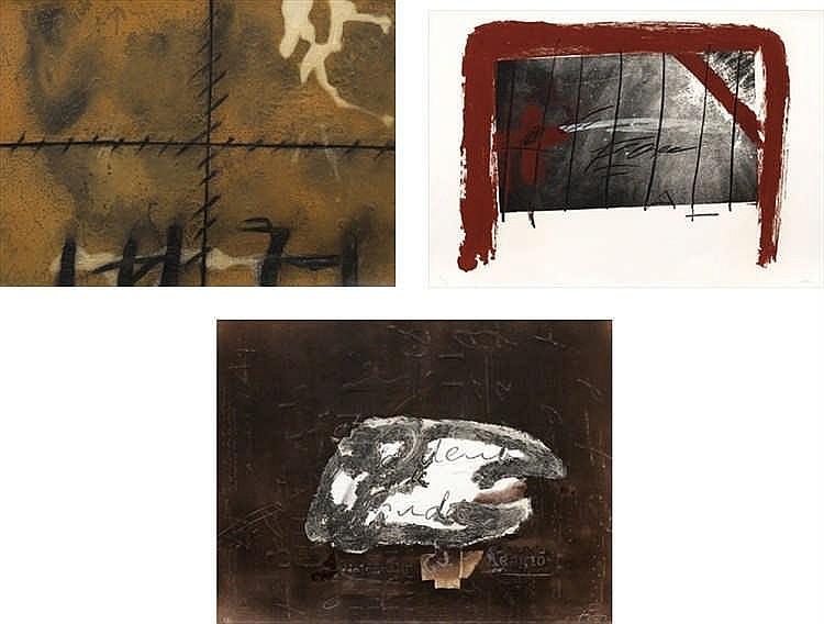Antoni Tàpies, Matière/ Lit rouge/ Variations sur un thème musical 10 (Galfetti 329, 598, 1151)
