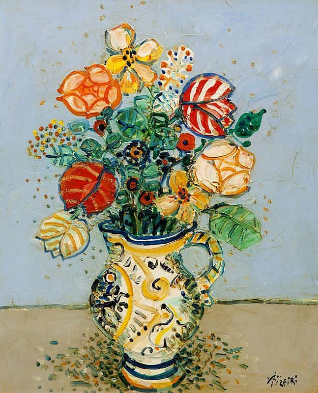 Paul Aizpiri, Bouquet de fleurs fond bleu