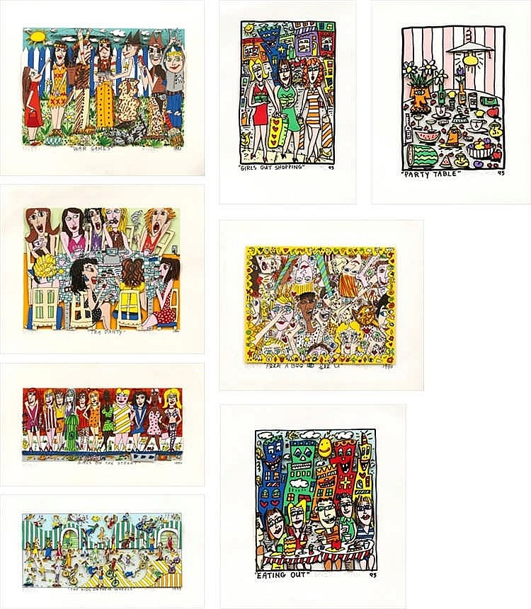 James Rizzi, eight screenprints by Rizzi