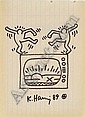 Keith Haring, Untitled: ink on paper, signed and, Keith Haring, Click for value