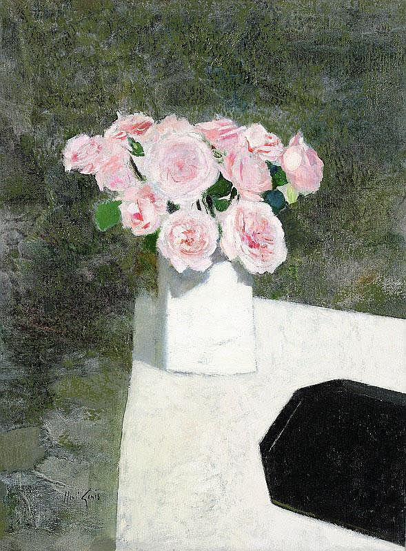Rene Genis, Roses Roses: oil on canvas, signed