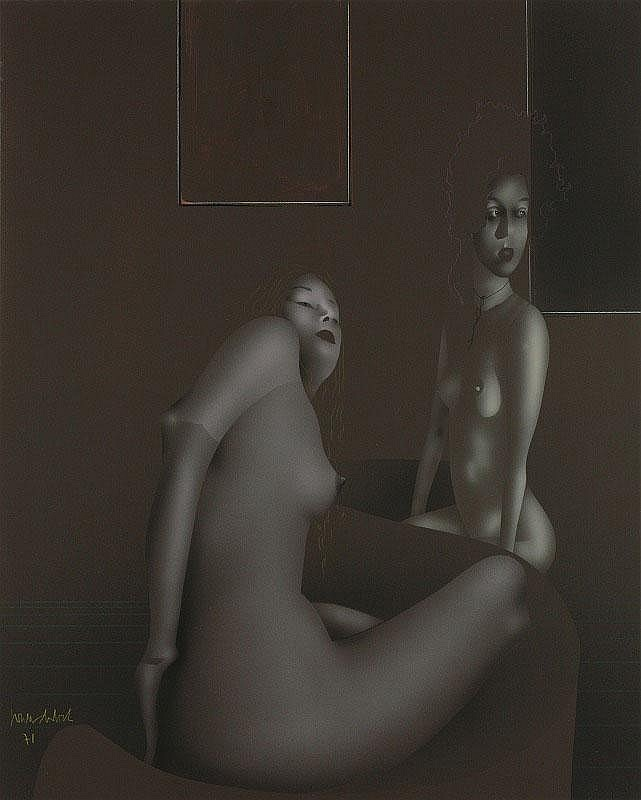 Paul Wunderlich, Daniela and Ulrike: gouache on