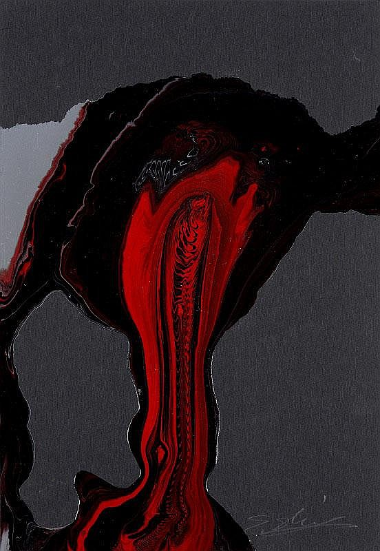 Shozo Shimamoto, Nagashi: oil on paper, signed