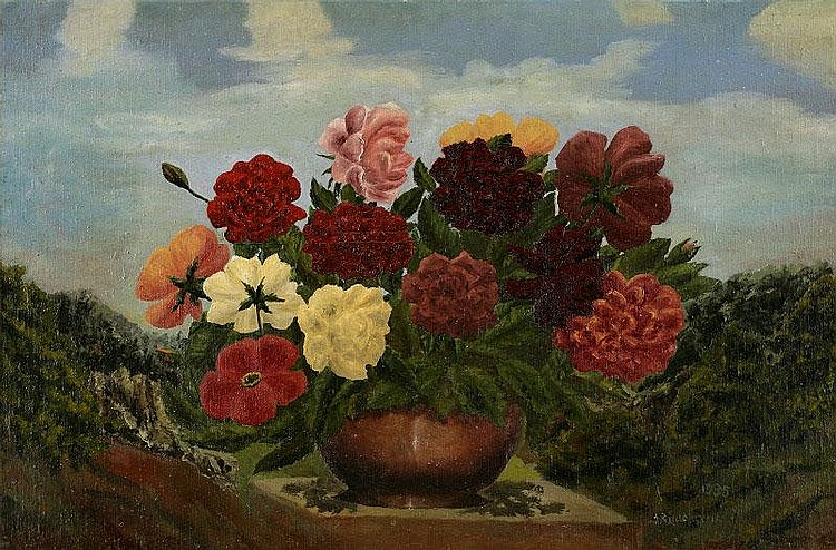 Andre Bauchant, Les Fleurs: oil on canvas, painted