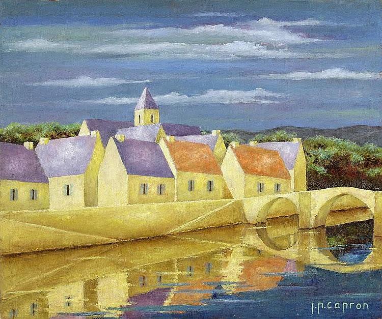 Jean-Pierre Capron, Le Vieux Pont: oil on canvas,