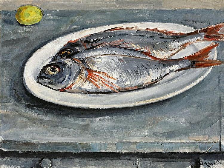 Takanori Oguiss, Dorades oil on canvas, signed