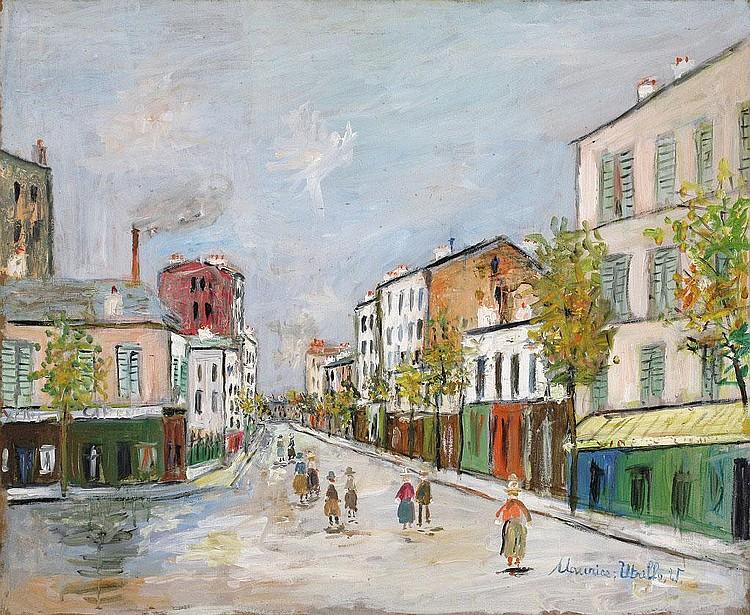 Maurice Utrillo, Rue de Paris a Asnieres oil on