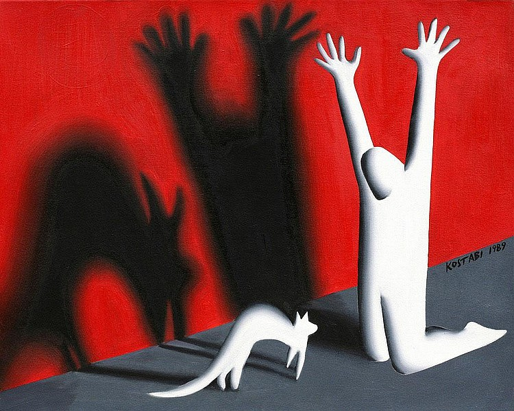 Mark Kostabi, Spook (set of 2, sold with 181B) oil