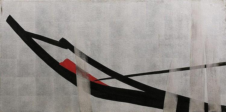 Toko Shinoda, Untitled silver leaf, sumi ink,