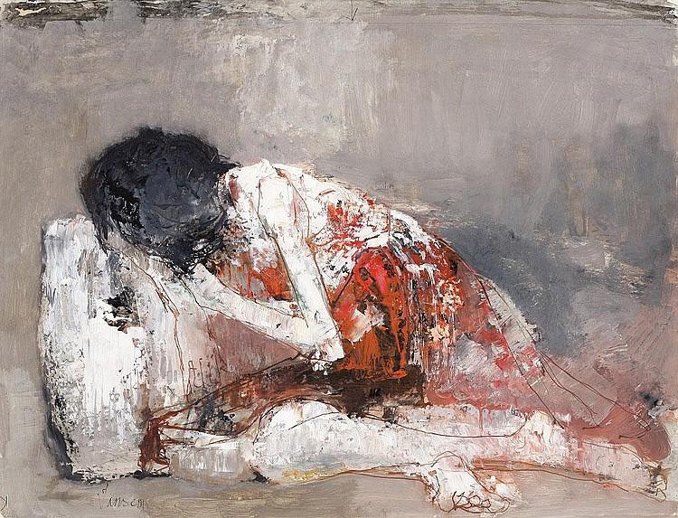 Jean Jansem, Jeune fille a la robe rouge oil on