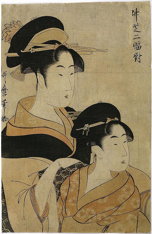 Utamaro Kitagawa, Two Beauties woodblock, circa