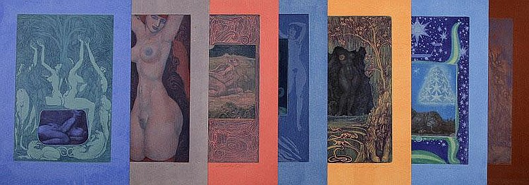 Ernst Fuchs, Sphinx (set of 7) (Weis 89, 91-93,