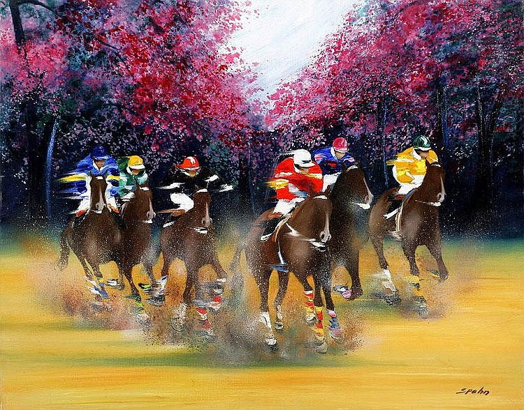 Victor Spahn, Galop dans les bois oil on canvas,