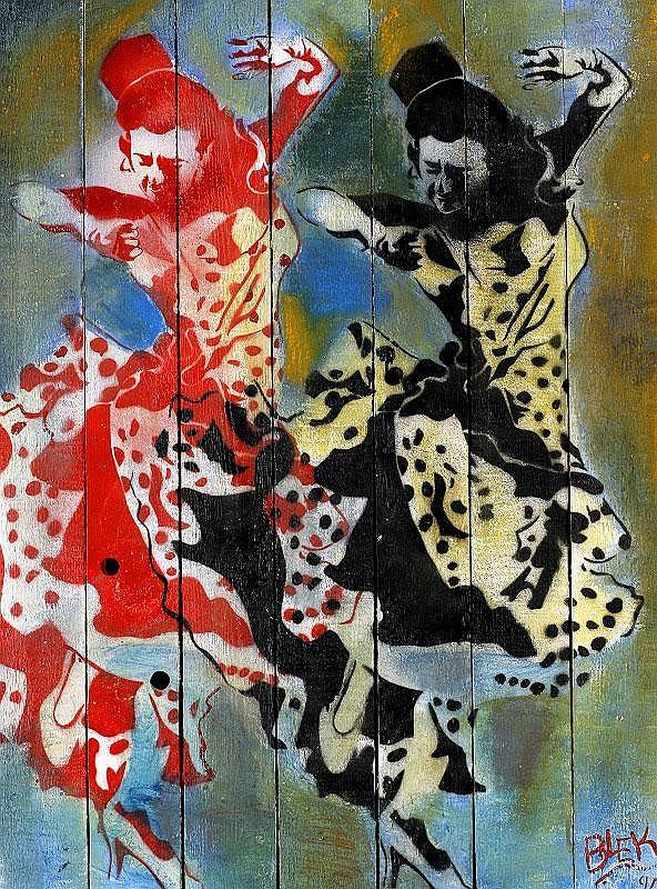 Blek Le Rat, Deux Danseurs spray paint and acrylic