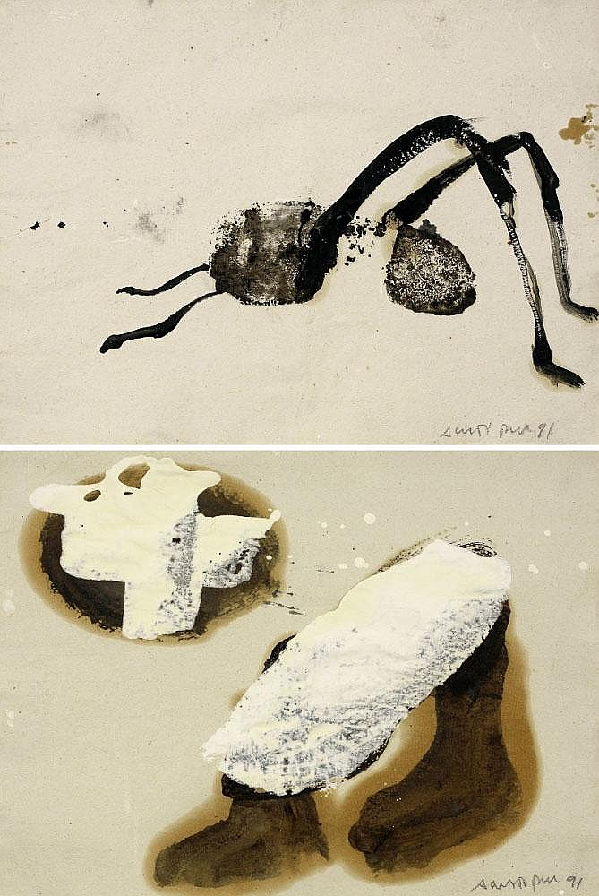 Agusti Puig, Works (set of 2) oil and white paint