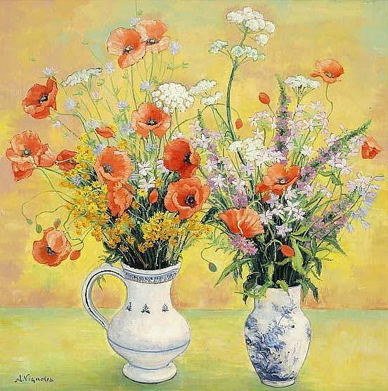 Andre Vignoles, Deux vases de fleurs des champs