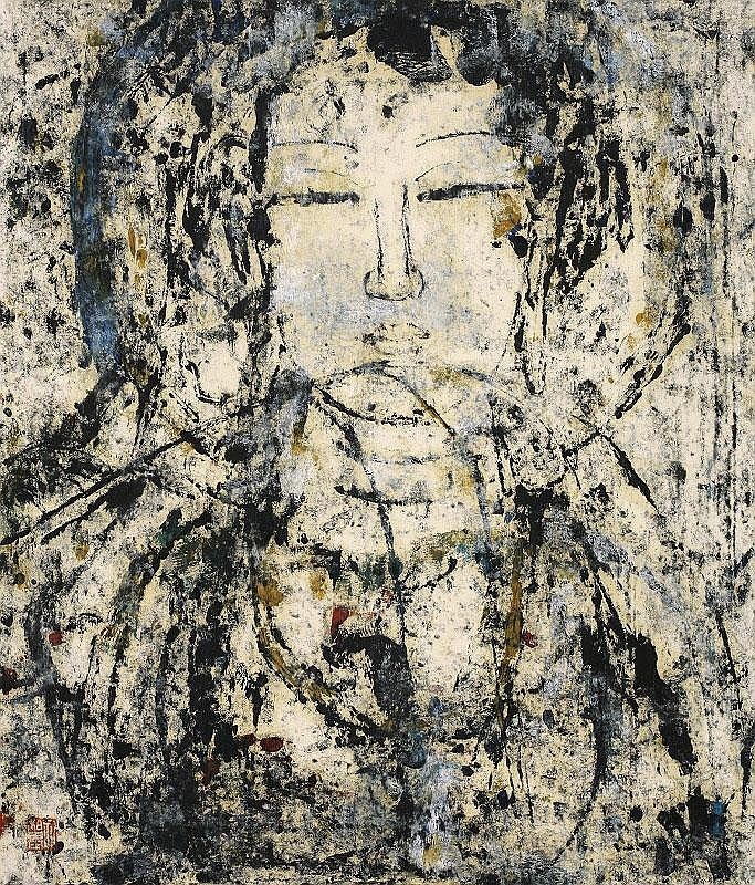 Kong Baiji, Willow Kannon oil on rice paper,