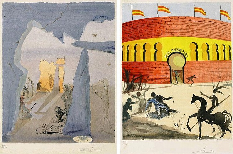 Salvador Dali, Smuggler's Meeting, Carmen's Death (from Carmen) (Michler  &  Lopsinger 1319, 1328) (set of 2)
