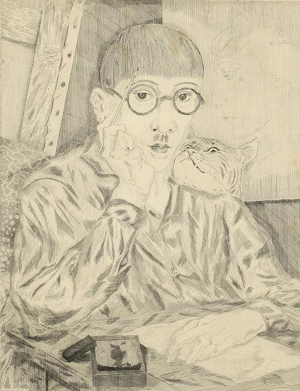Tsuguharu Foujita, Autoportrait (avec profil de femme) (Buisson II.27.90) (sold with 2B; set of 2)