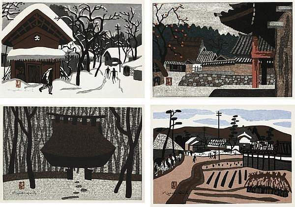 Kiyoshi Saito, Winter in Aizu/ Autumn in Aizu/ Saga Kyoto/ Harvesting (set of 4)