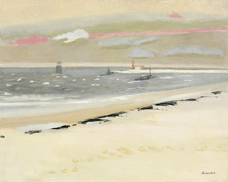 Maurice Brianchon, Le Soir (Plage) oil on canvas,