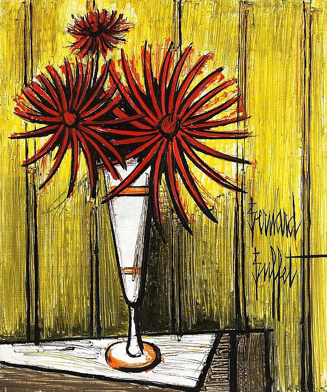 Bernard Buffet, Dahilas dans un mazagran oil on