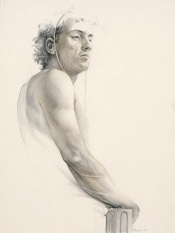 Steven Assael, Male Figure pencil and ink on paper, executed in 1989, signed and dated (lower right), framed 34x25.8cm