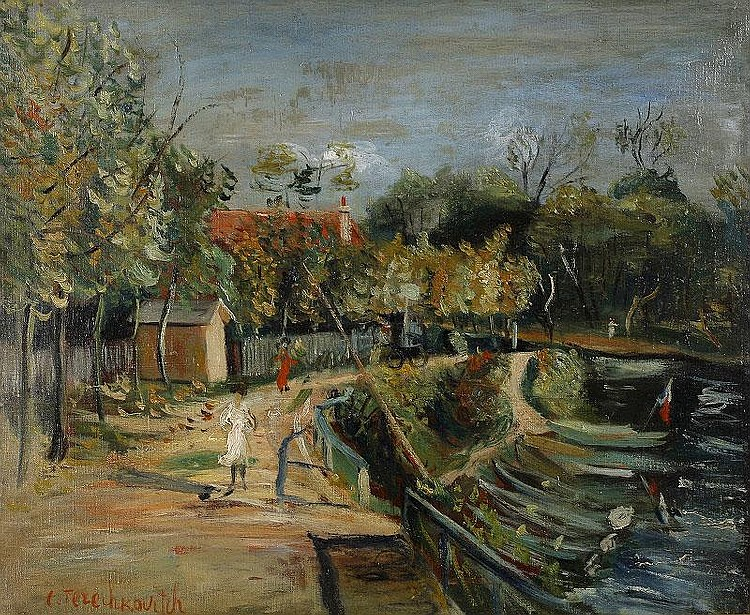Constantin Terechkovitch, La Seine oil on canvas, painted circa 1941, signed (lower left), framed, sold with a certificate by Gilbert Petrides 60x73cm