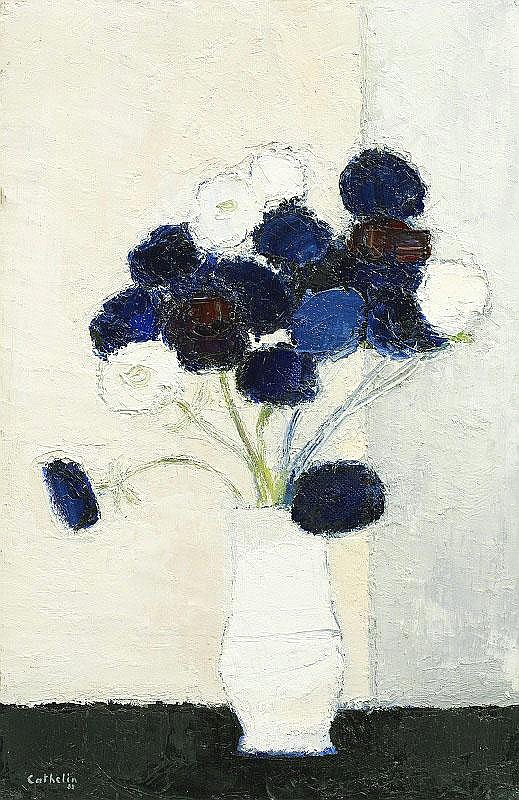 Bernard Cathelin, Anemones a la table noire oil on
